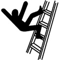person falling from ladder
